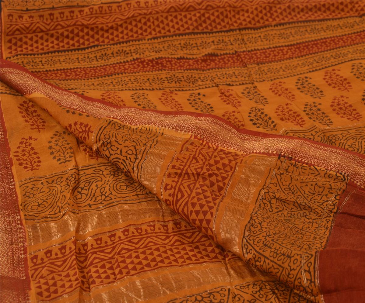 Vintage-Dupatta-Long-Stole-Cotton-Dark-Saffron-Hijab-Block-Printed-Wrap-Veil