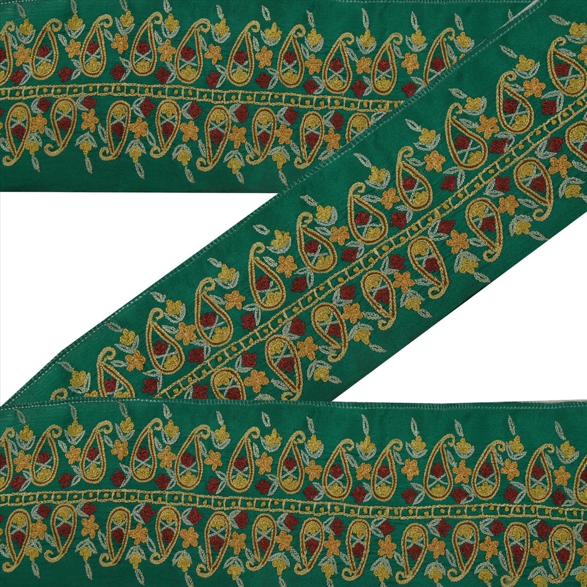 Antique Vintage Saree Border Hand Embroidered Craft Trims 1 Yard