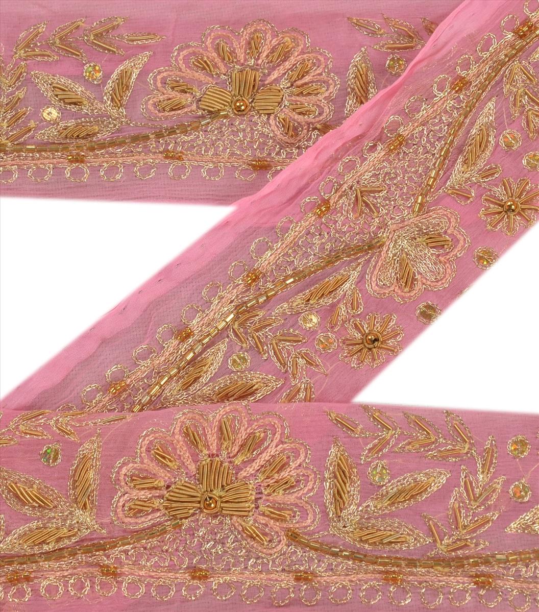 Antique Vtg Sari Border Indian Craft Trim Embroidered Beaded Pink Lace Ribbon