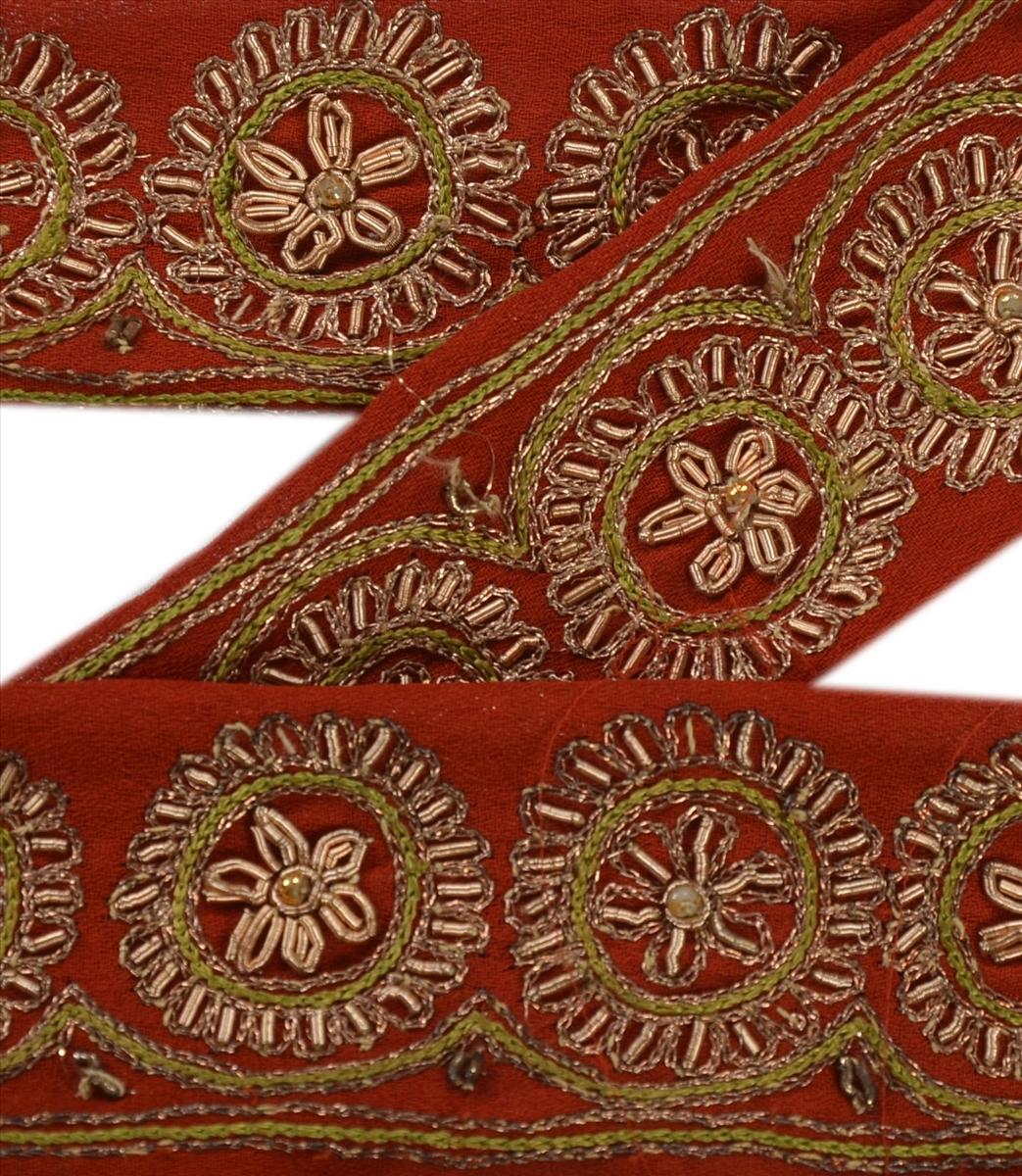 Sanskriti Vintage Sari Border Craft Blue Trim Hand Embroidered Sewing Lace