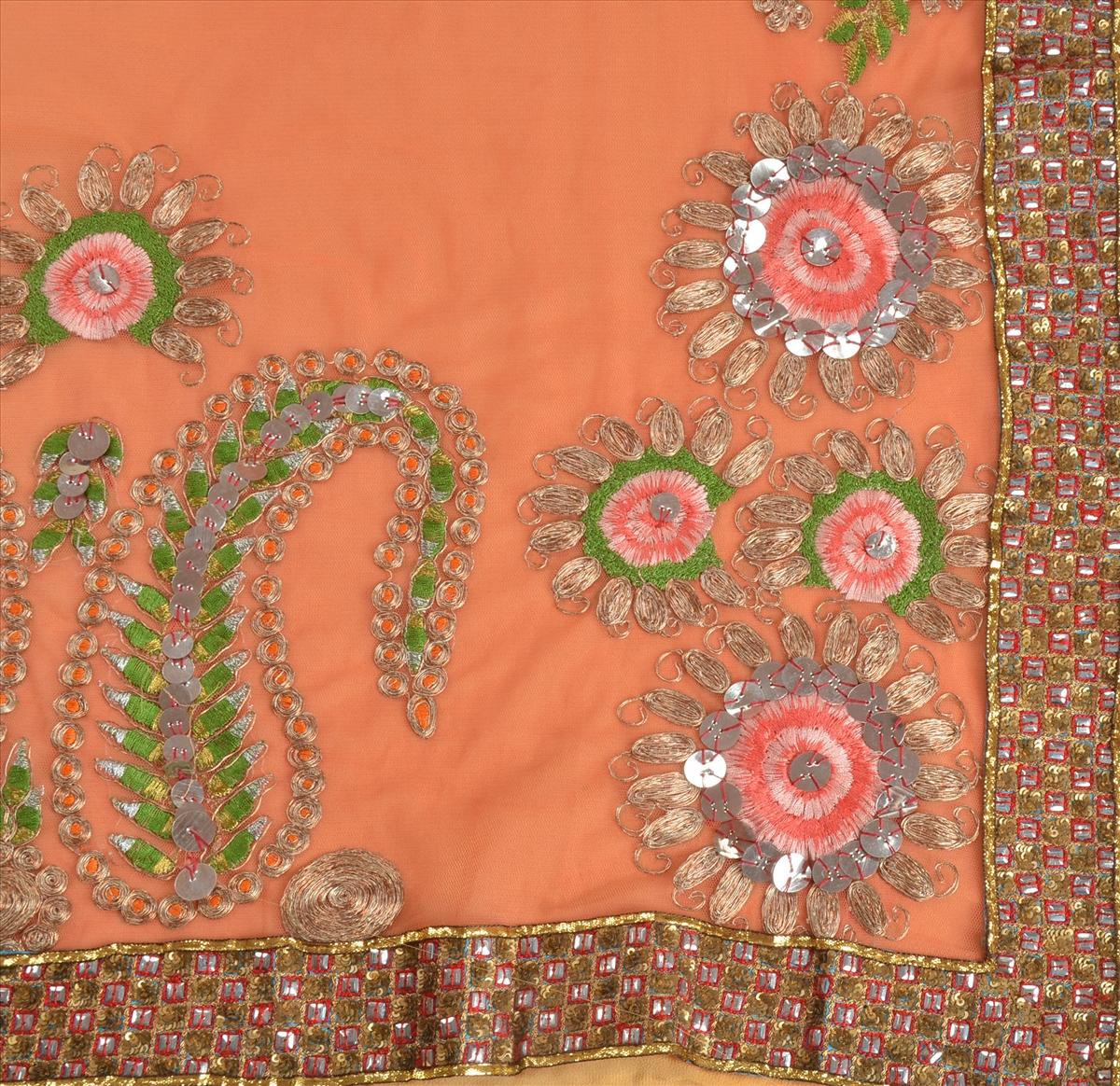 sanskriti vintage indian saree net georgette fabric heavy